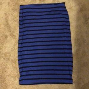 Blueish purple & black stripe midi skirt size L